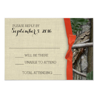 Tree Camouflage and Orange Bow Response 3.5x5 Paper Invitation Card