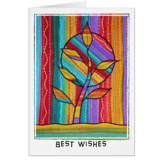 Tree card . brilliant colours. fabric design