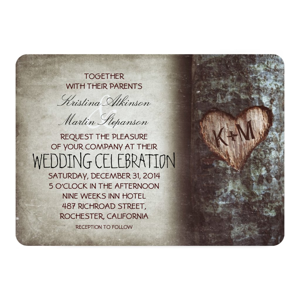 Tree Carved Heart Initials Rustic Country Wedding