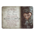 Tree Carved Heart Initials Rustic Country Wedding Card