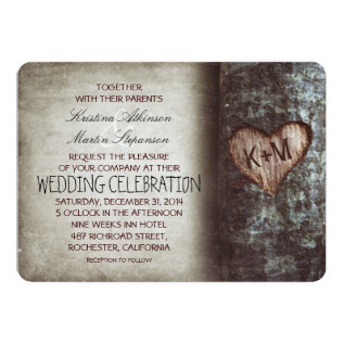 Tree Carved Heart Initials Rustic Country Wedding Card at Zazzle