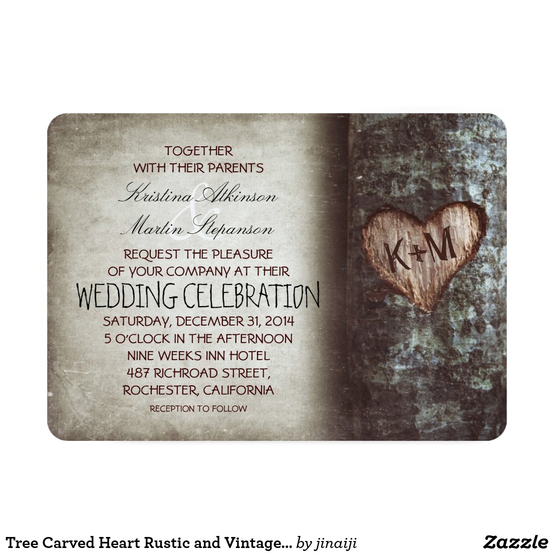 Old Vintage Rustic Tree Wedding Invitation