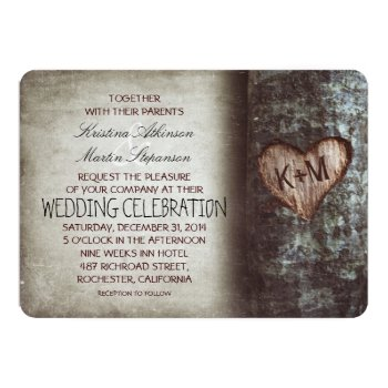 Tree Carved Heart Rustic And Vintage Wedding Card by jinaiji at Zazzle