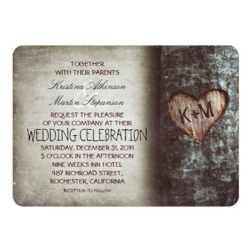 jinaiji Tree Carved Heart Rustic and Vintage Wedding Card