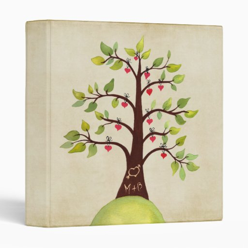 Tree Carving Love Heart + Initials Wedding Binder