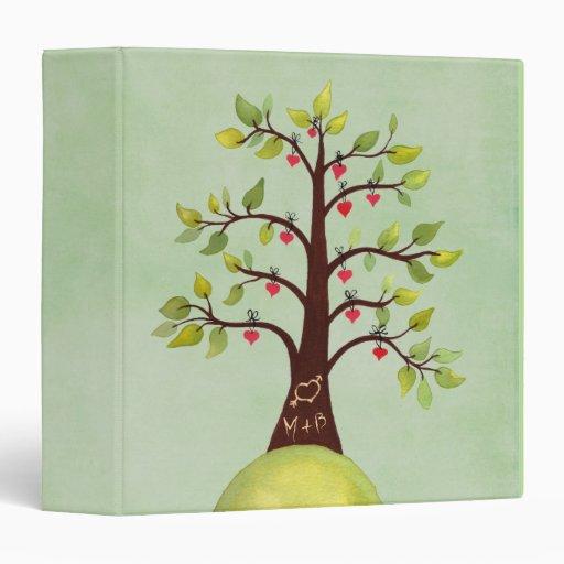 Tree Carving Love Heart + Initials Wedding Binder