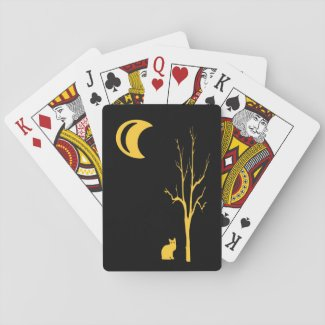 Tree, Cat and Moon Playing Cards