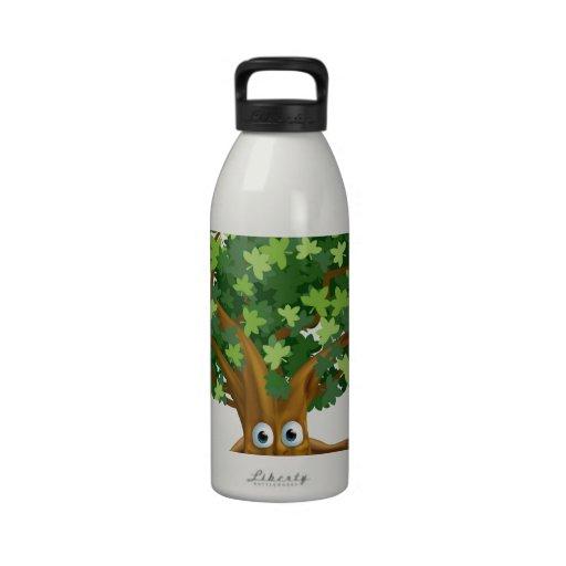 Tree character cartoon water bottles