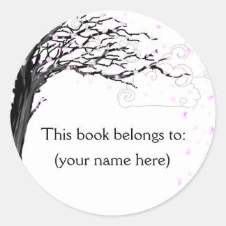Tree, cherry blossom classic round sticker