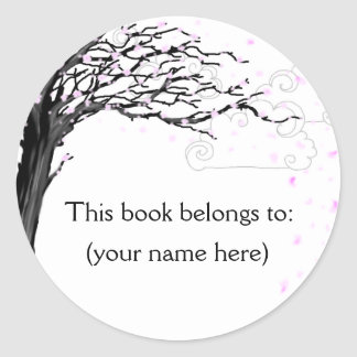 Tree, cherry blossom round sticker