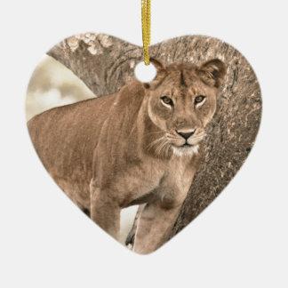 Tree-climbing lion, Uganda Africa Ceramic Ornament