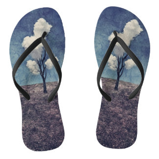 Tree Clouds Surreal Art Beach Shoes Flip Flops