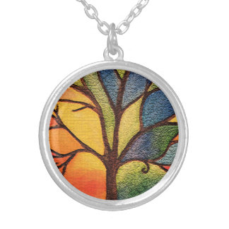 Tree Colourful Stained Glass Effect Necklace