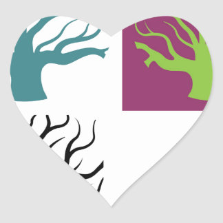 Tree concept four shapes heart sticker