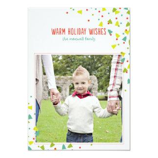 Tree Confetti Modern Flat Holiday Photo Card