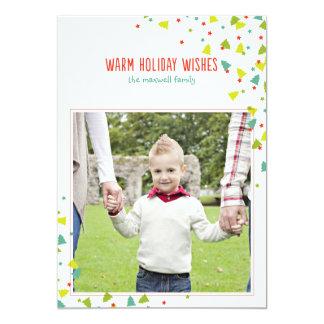 Tree Confetti Modern Folded Holiday Photo Card Custom Invitation