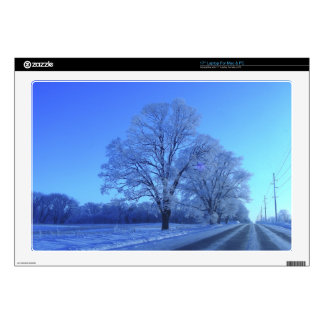 Tree covered in snow on barren landscape. decal for laptop