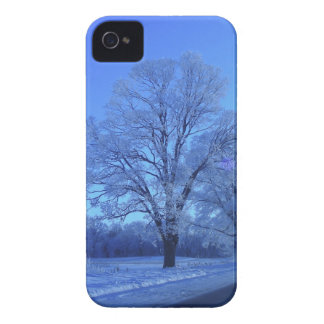 Tree covered in snow on barren landscape. iPhone 4 Case-Mate case