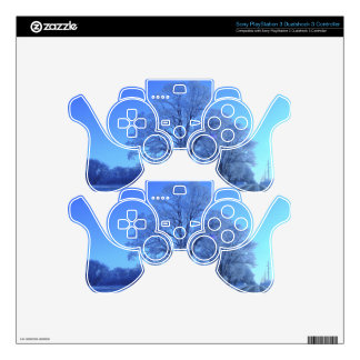 Tree covered in snow on barren landscape. PS3 controller decal