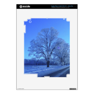 Tree covered in snow on barren landscape. skins for iPad 3