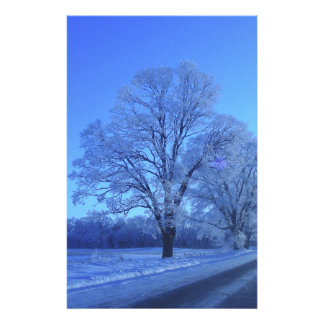 Tree covered in snow on barren landscape. custom stationery