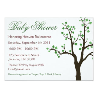 Tree Design Baby Shower Invitations