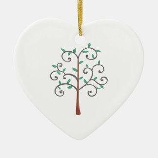 TREE Double-Sided HEART CERAMIC CHRISTMAS ORNAMENT
