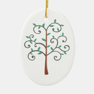 TREE Double-Sided OVAL CERAMIC CHRISTMAS ORNAMENT