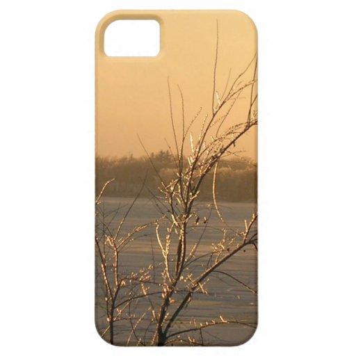 TREE EARLY WINTER ICE PEACH SKY LAKE iPhone 5/5S iPhone 5 Case