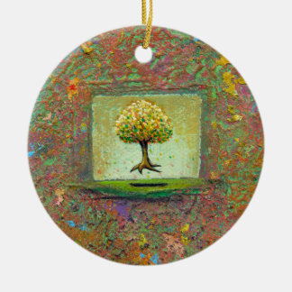 Tree earthy natural unique painting pretty art christmas tree ornaments