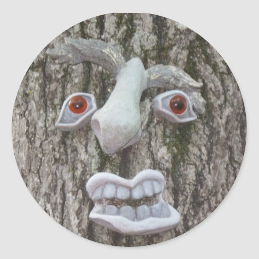 Tree Face IMG_1143 Round Sticker
