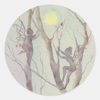 TREE FAIERIES by SHARON SHARPE Round Stickers
