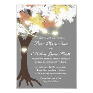 Tree fall modern heart glow card