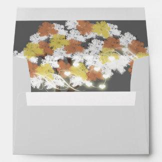 Tree fall modern heart glow envelope