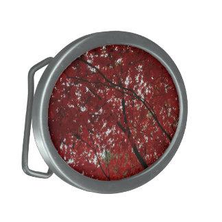Tree Fall Season Red Brown Autumn Leaves Oval Belt Buckle