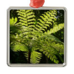 Tree Fern in the Rainforest Square Metal Christmas Ornament