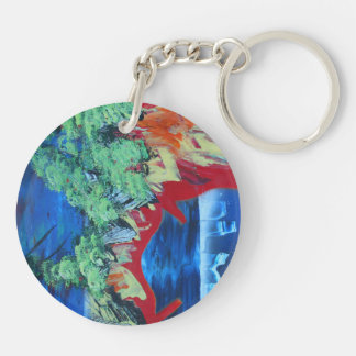 tree flame sky shield planet spacepainting Double-Sided round acrylic keychain