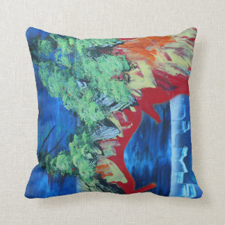 tree flame sky shield planet spacepainting throw pillow