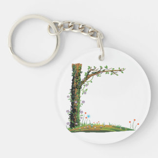 Tree floral vines left side pretty graphic.png Double-Sided round acrylic keychain