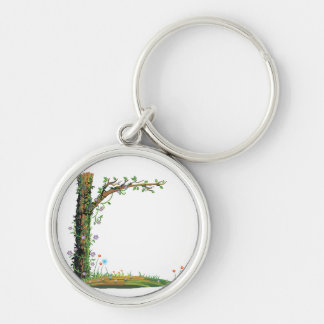 Tree floral vines left side pretty graphic.png Silver-Colored round keychain