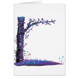 Tree floral vines purple left side pretty graphic. card