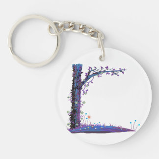 Tree floral vines purple left side pretty graphic. Double-Sided round acrylic keychain