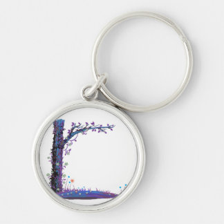 Tree floral vines purple left side pretty graphic. Silver-Colored round keychain