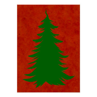 Tree for Christmas on Red Watercolor Wash Poster