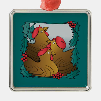 Tree French Hens Metal Ornament