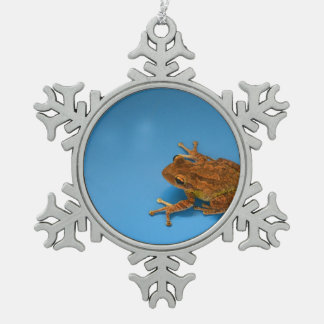 Tree frog against blue background on right snowflake pewter christmas ornament