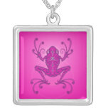 Tree Frog – deep pink Square Pendant Necklace