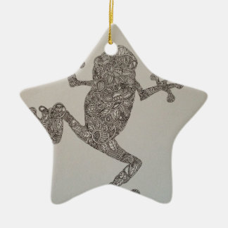 Tree Frog design Double-Sided Star Ceramic Christmas Ornament