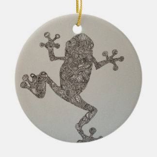 Tree Frog design Double-Sided Ceramic Round Christmas Ornament