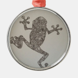 Tree Frog design Round Metal Christmas Ornament